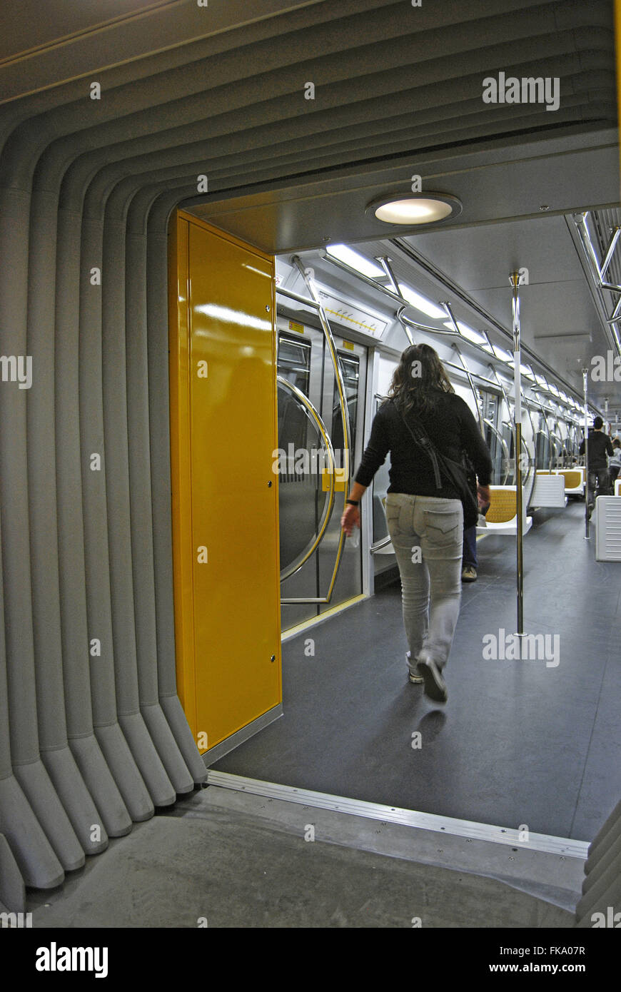 Inside the wagon the yellow line of the Metro - Stock Image