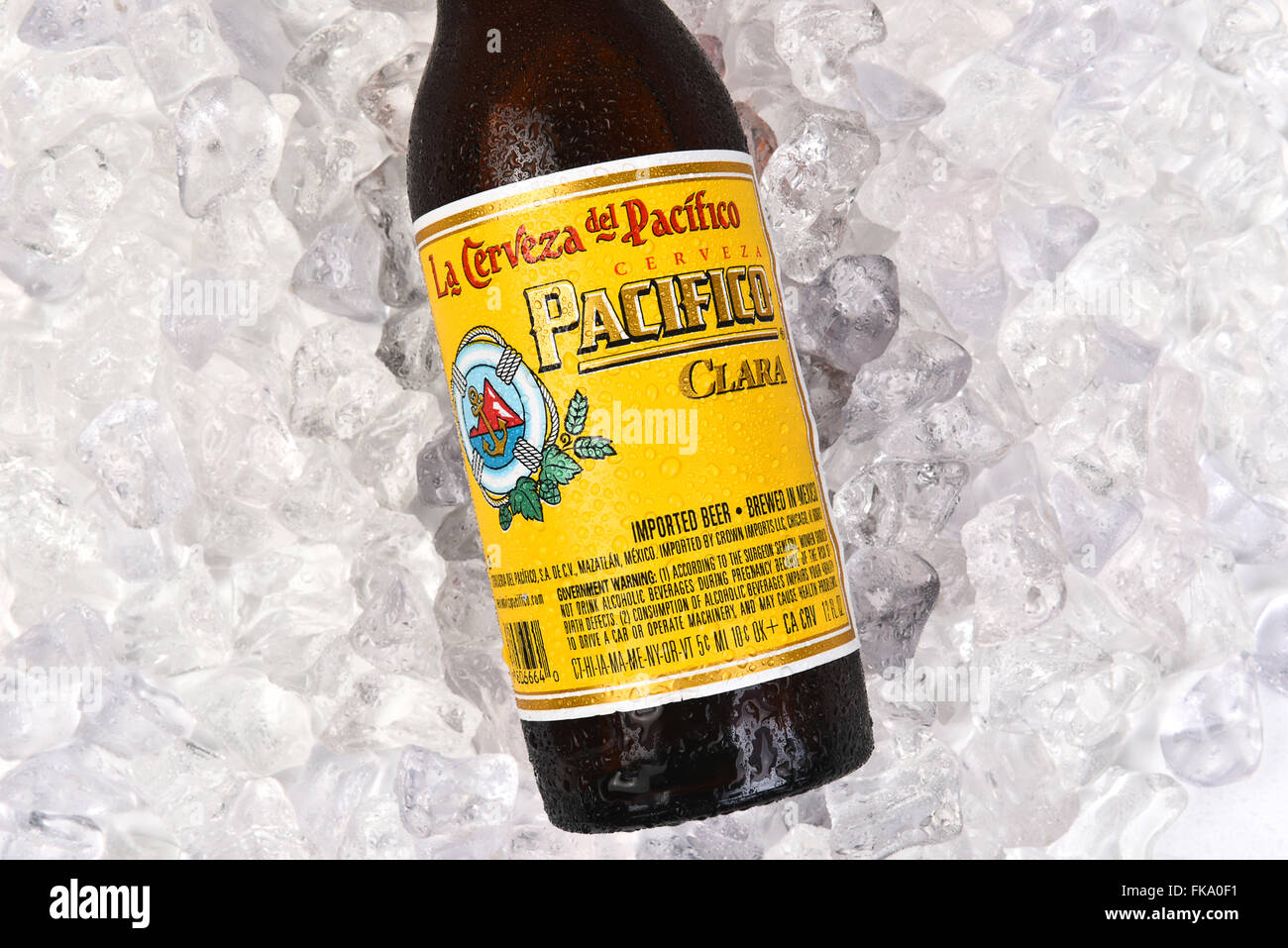 Cerveza Pacifico Clara bottle on a bed of ice. Stock Photo
