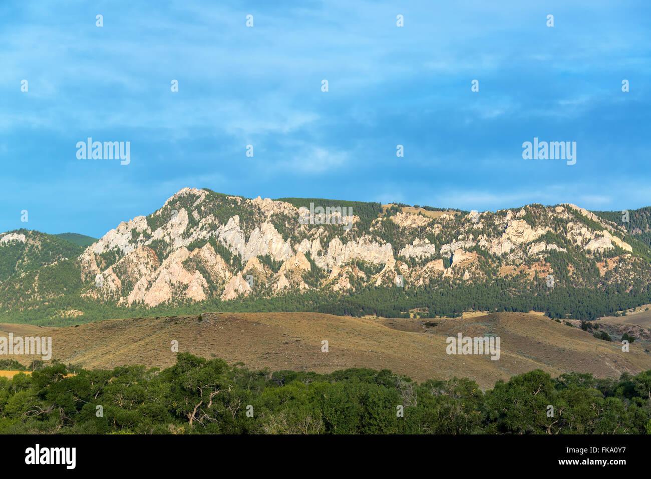 Rugged terrain in the Bighorn Mountain Range near Buffalo, Wyoming - Stock Image
