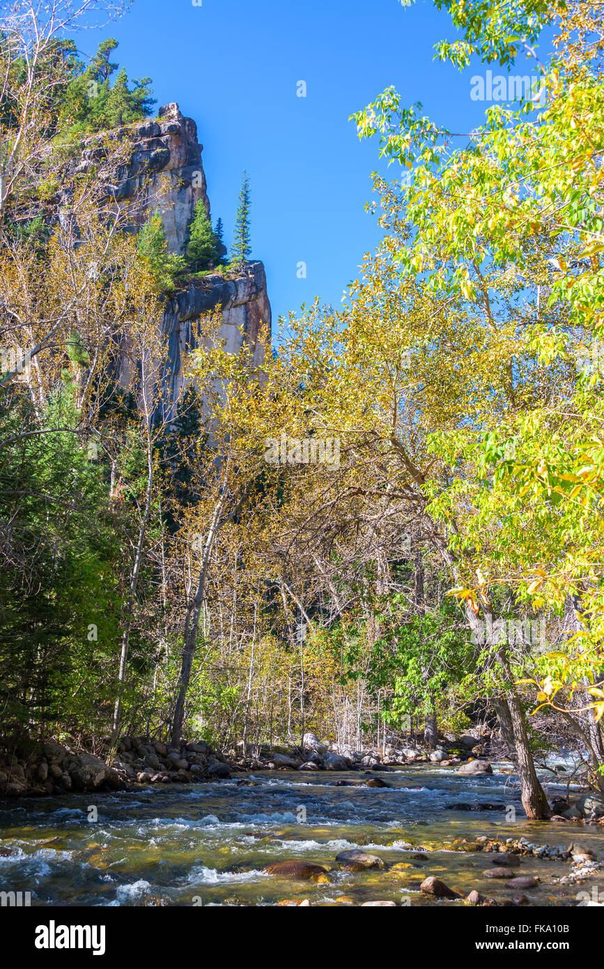 Vertical view of South Piney Creek near Story, Wyoming - Stock Image