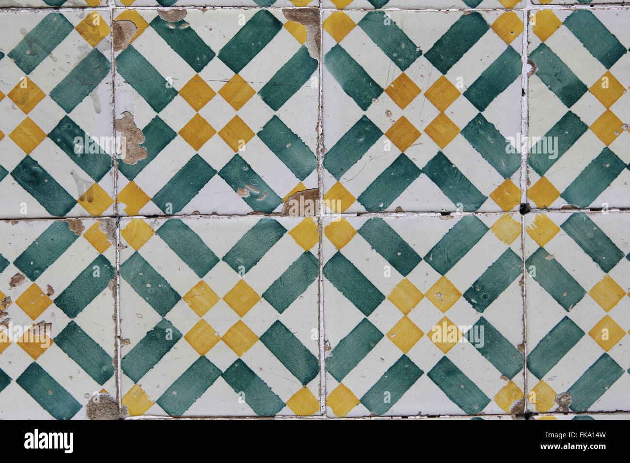Detail of Portuguese tiles in the nineteenth century mansion in the city center - Stock Image