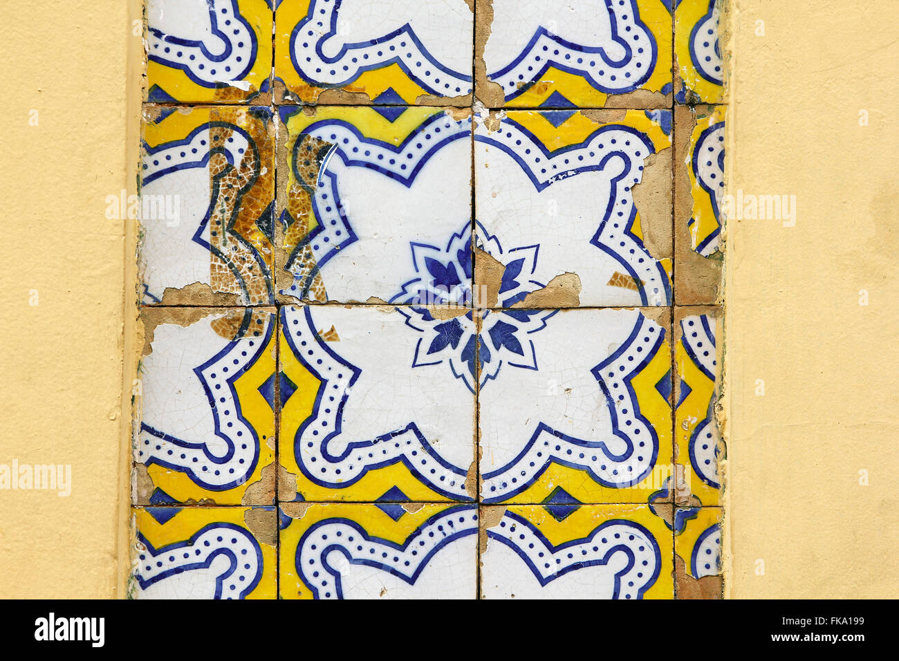 Detail of Portuguese glazed tiles poorly maintained - Stock Image