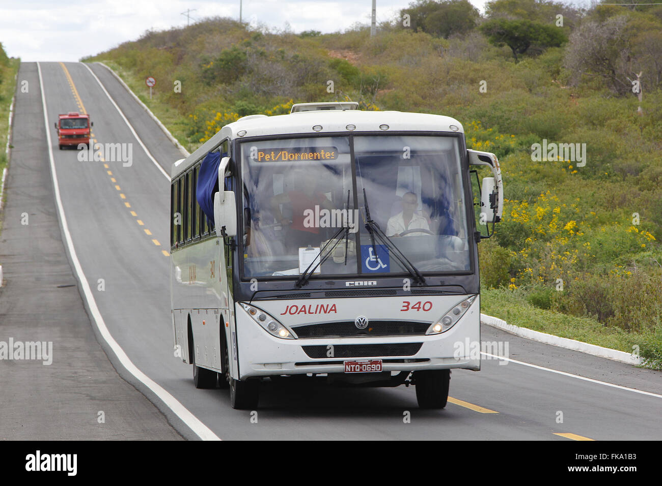 bus travels on the BR-407 - Stock Image