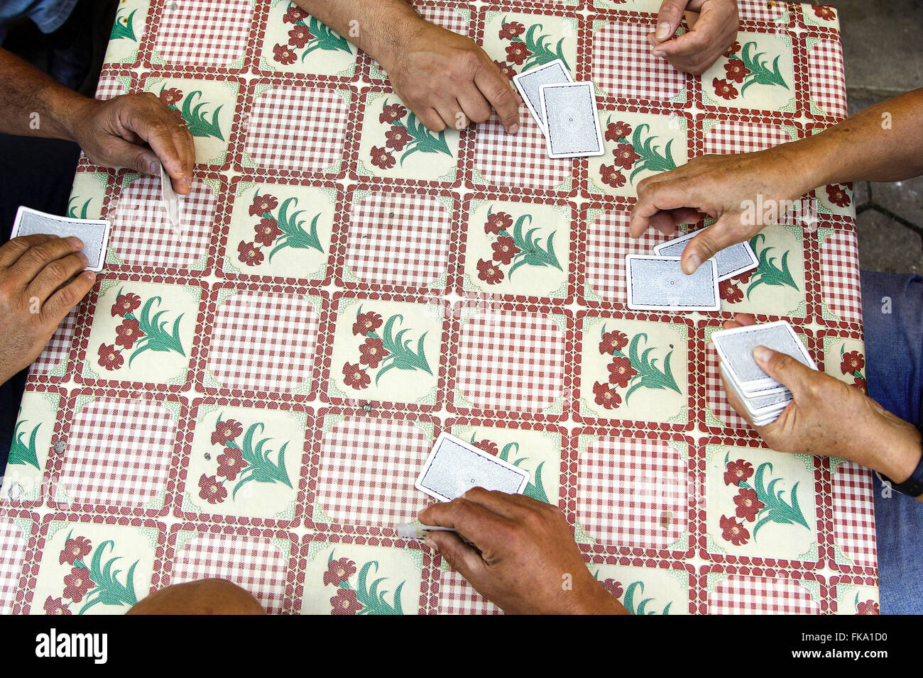 Playing cards on the table with plastic tablecloth florida - Stock Image