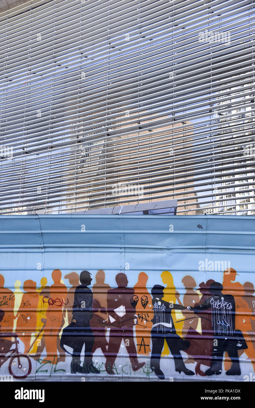 Painting work of siding on building the Paulista Avenue - Stock Image