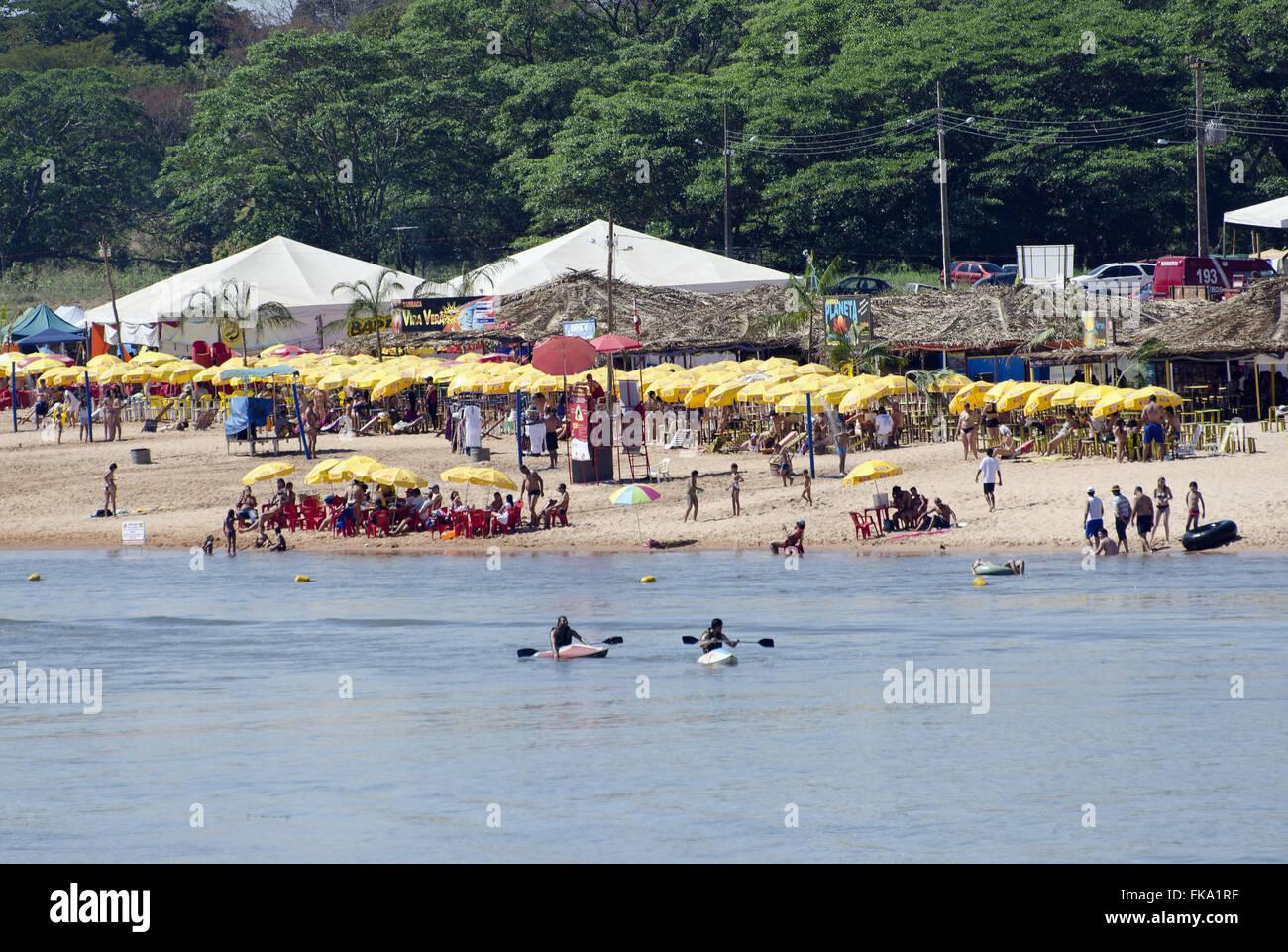 Araguaia River - river beach in Aragarcas-Goias - Stock Image