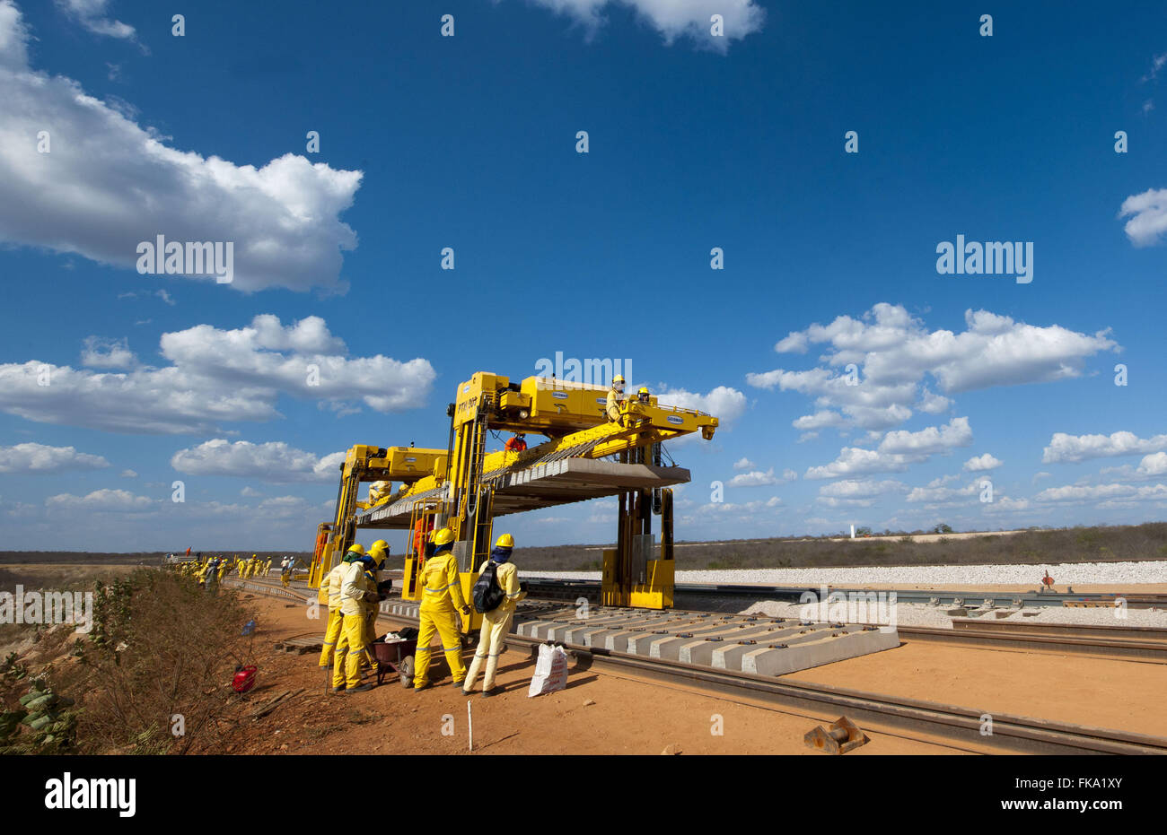 Transportation equipment and placement of sleepers Railroad Transnordestina - Stock Image