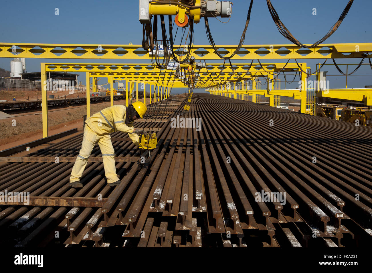 Patio rails for railway construction Transnordestina - Stock Image