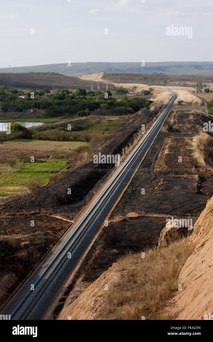 Railroad tracks Transnordestina the backlands of Ceará - Stock Image