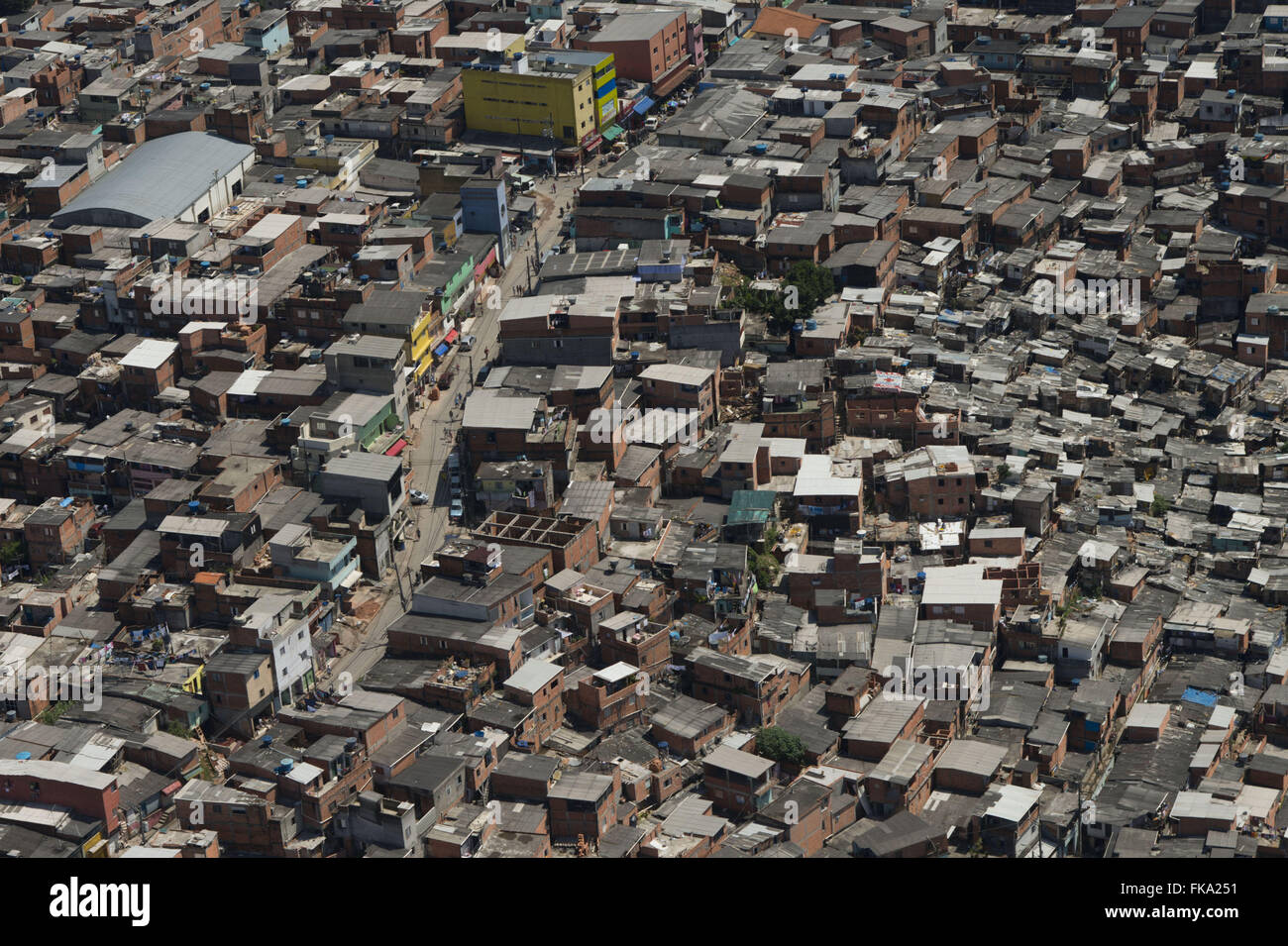 Aerial view of the slum urbanized area with design by New Paraisópolis - Stock Image