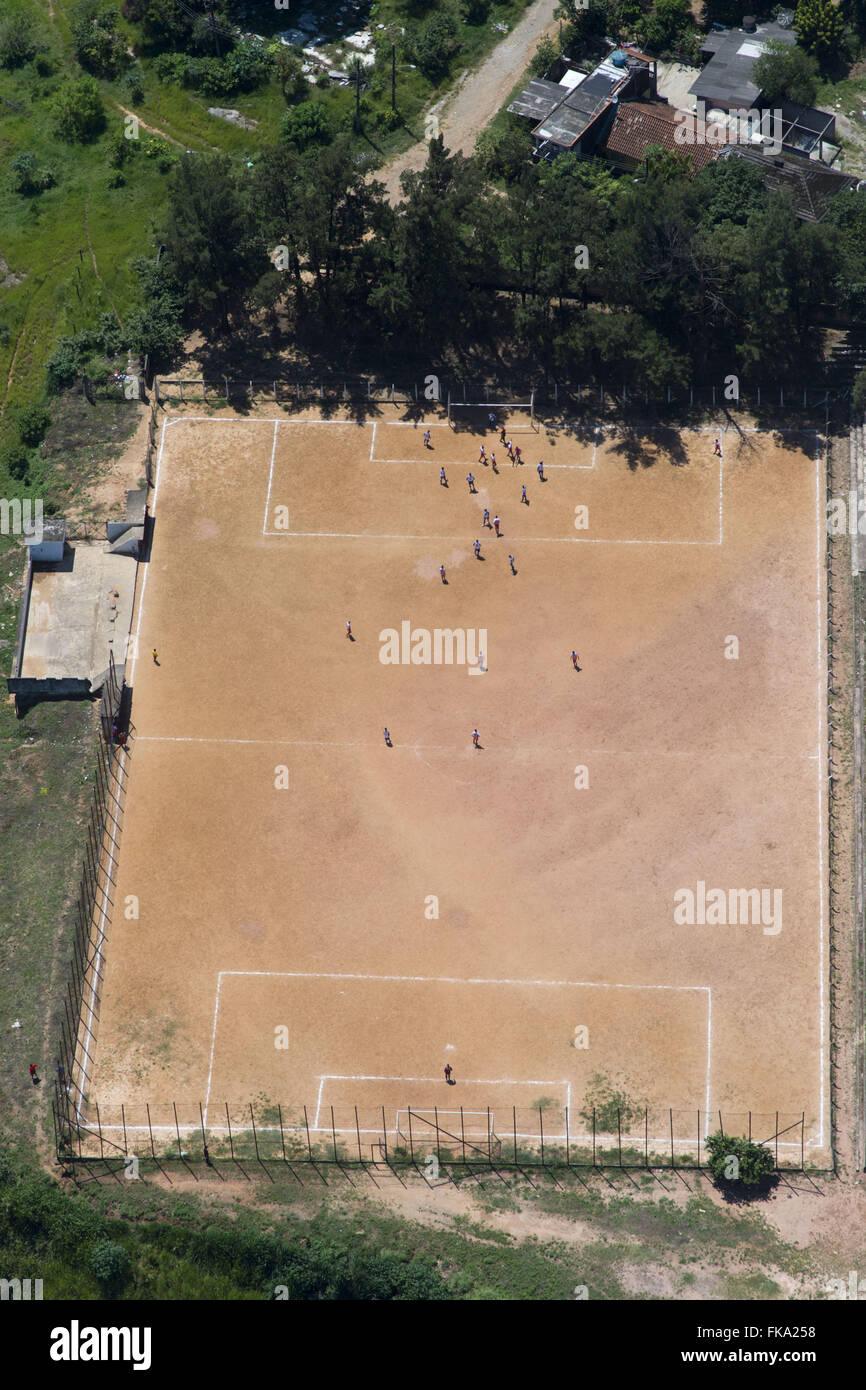Aerial view of the football field of land on the outskirts of Turkeys - Stock Image