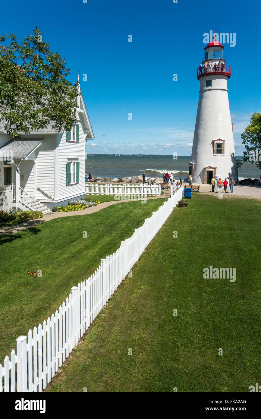 Historic 1822 Marblehead Lighthouse in Marblehead on the Marblehead Peninsula on Lake Erie Ohio. - Stock Image