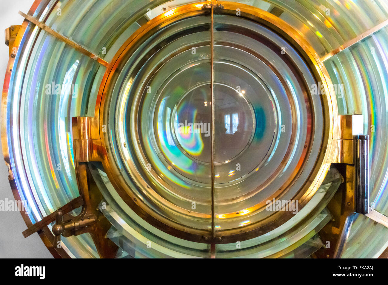 Fresnel lens from the Marblehead Lighthouse on Lake Erie Ohio. Lens of the 3-1/2 order. - Stock Image