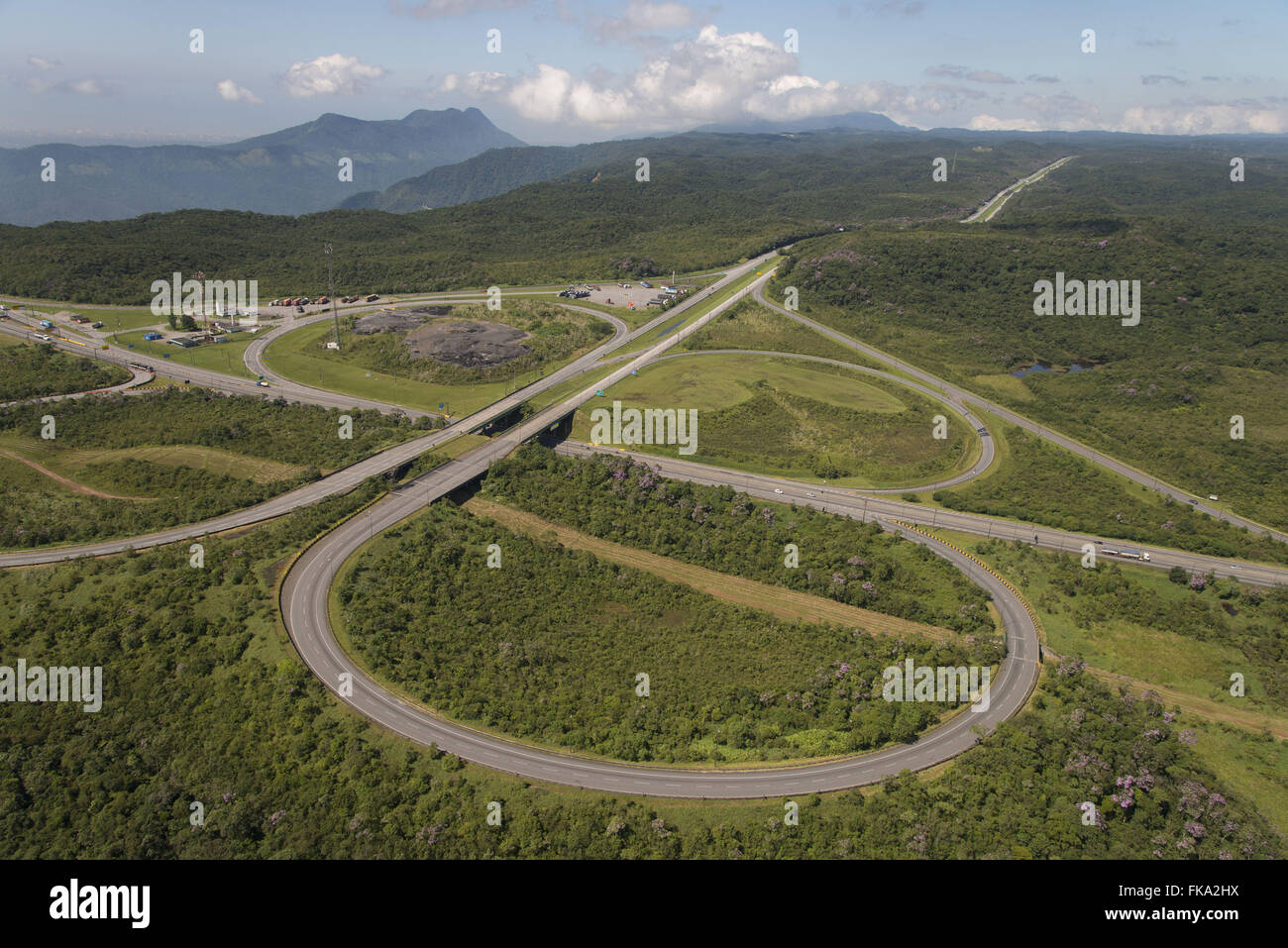 Interconnection Via Anchieta SP-150 to Highway of Immigrants in the top of the Serra do Mar - Stock Image