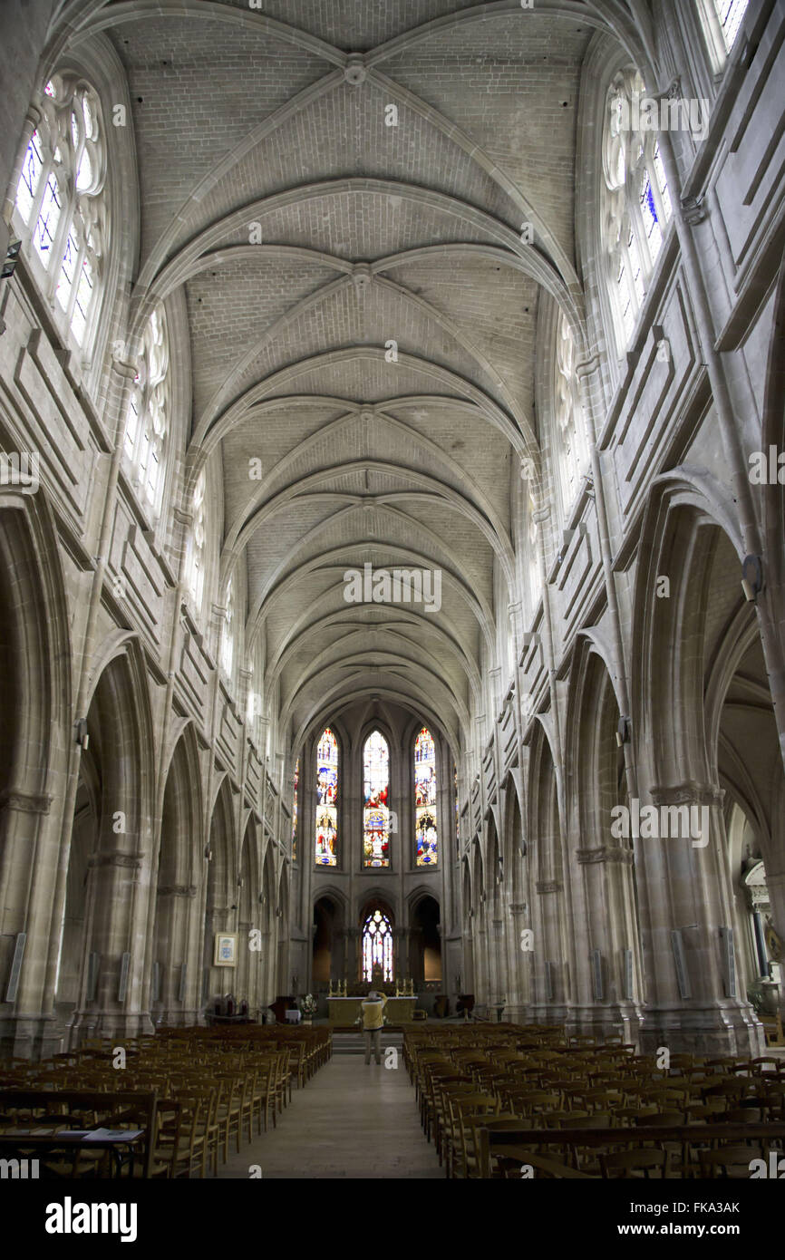 Interior of the Cathedral Church of Saint Louis City of Blois - Loire Valley - Stock Image
