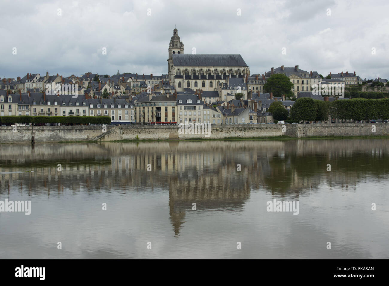 View of the city of Blois - Cathedral Church of Saint Louis - Stock Image