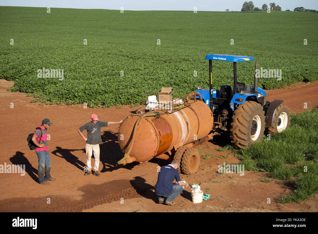 Tractor with chemicals for application pool in soybean plantation - Stock Image