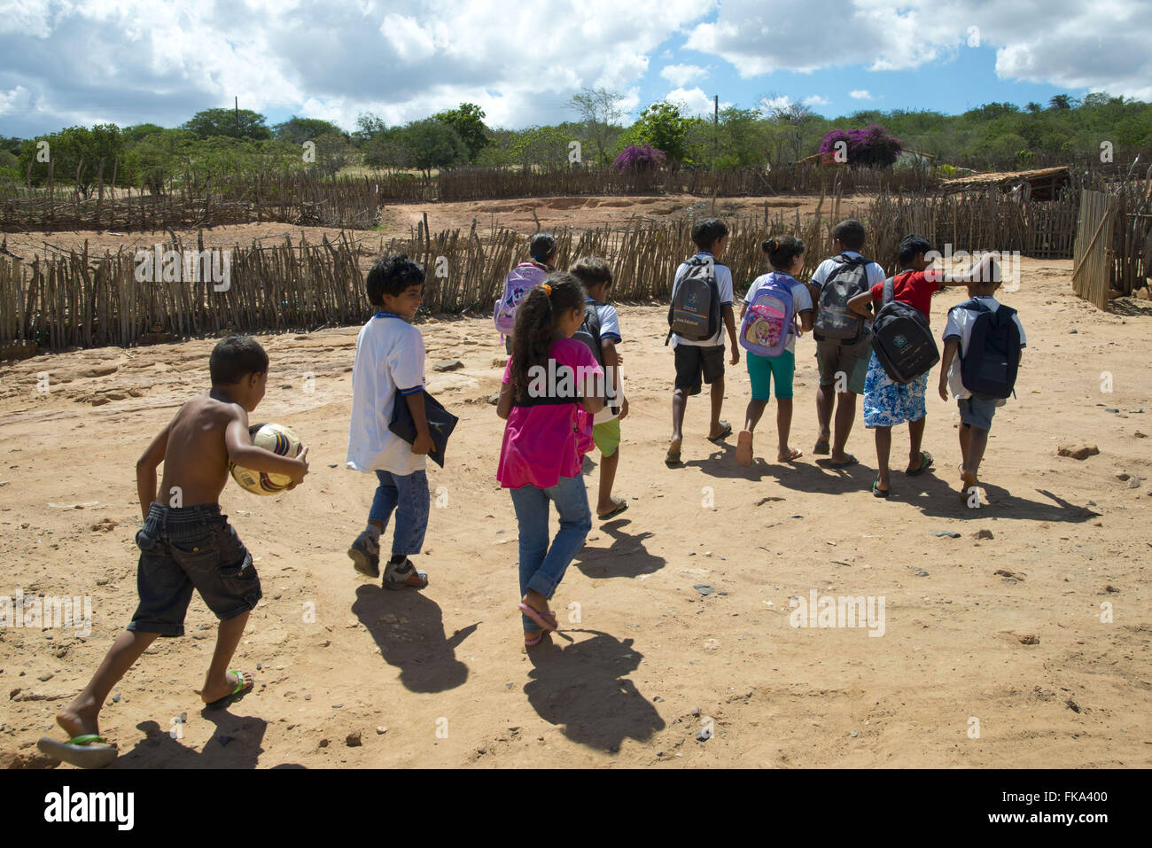 Children ethnicity Kapinawá out of state school or community village Thresher - Stock Image