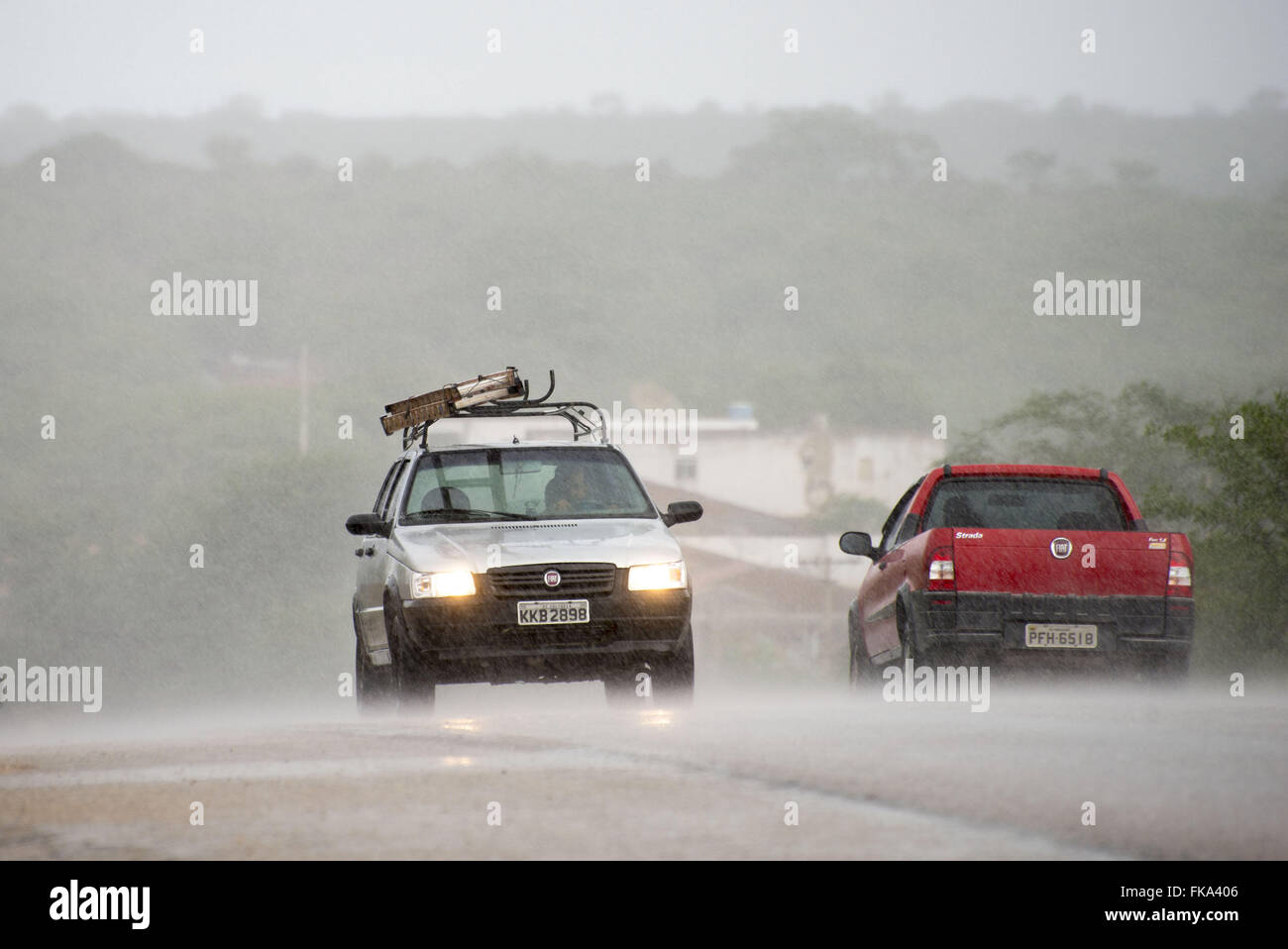 Raining in the backlands of Pernambuco BR-232 at the time of Custody in autumn - Stock Image