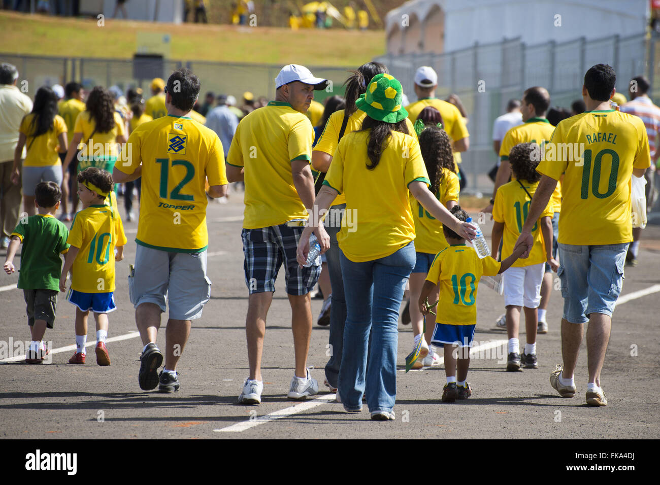 Fans arriving for the opening match of the Confederations Cup in Brasilia - Stock Image