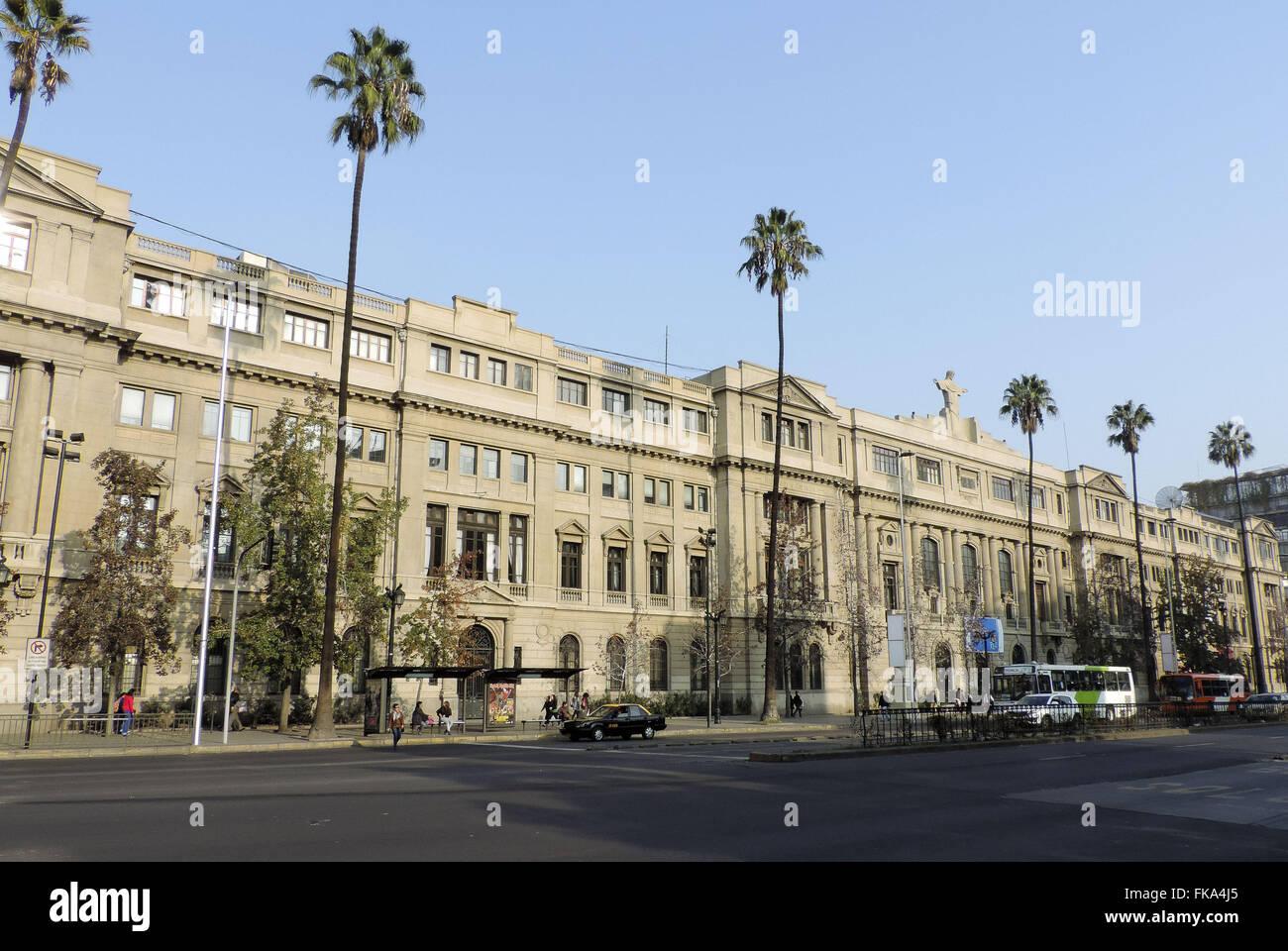 Pontificia Universidad Catolica de Chile on Avenida Libertador Bernardo O`Higgins - Stock Image