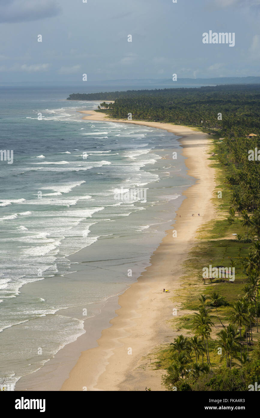 Sargi Barra beach front and the bottom tip of the Branch views from the Serra Grande lookout - Stock Image