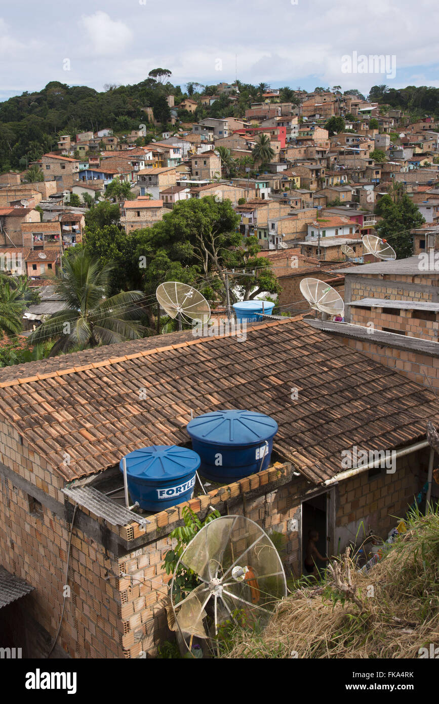 Public housing on the slopes of hills on the outskirts of the city - Stock Image