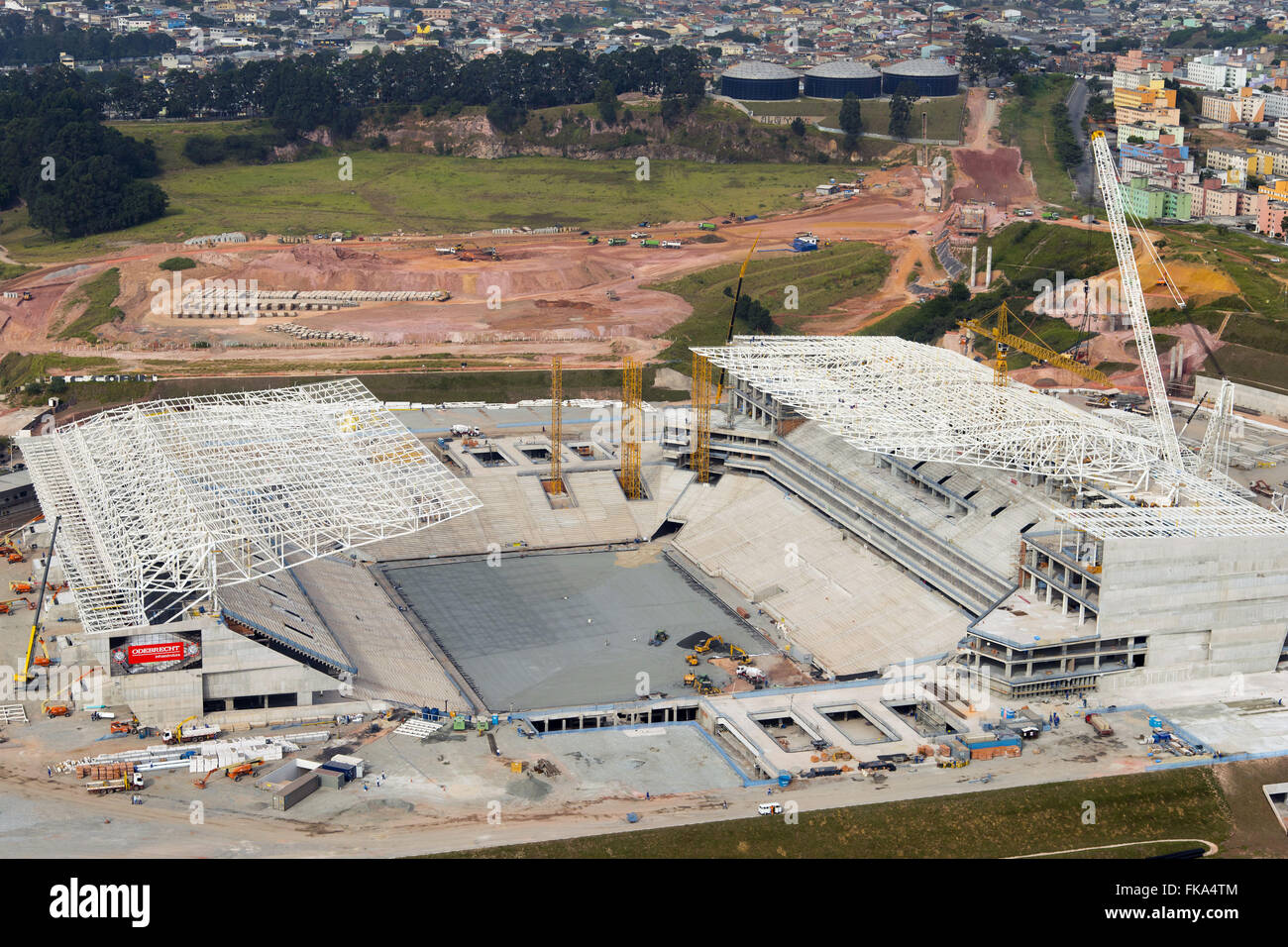 Aerial view of the construction work of the Corinthians stadium Arena - Itaquera neighborhood - east side - Stock Image
