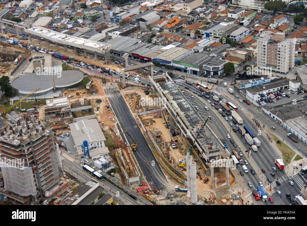 Aerial view of the construction work of the railway Vila Prudente monorail Line 15 - Silver - Stock Image