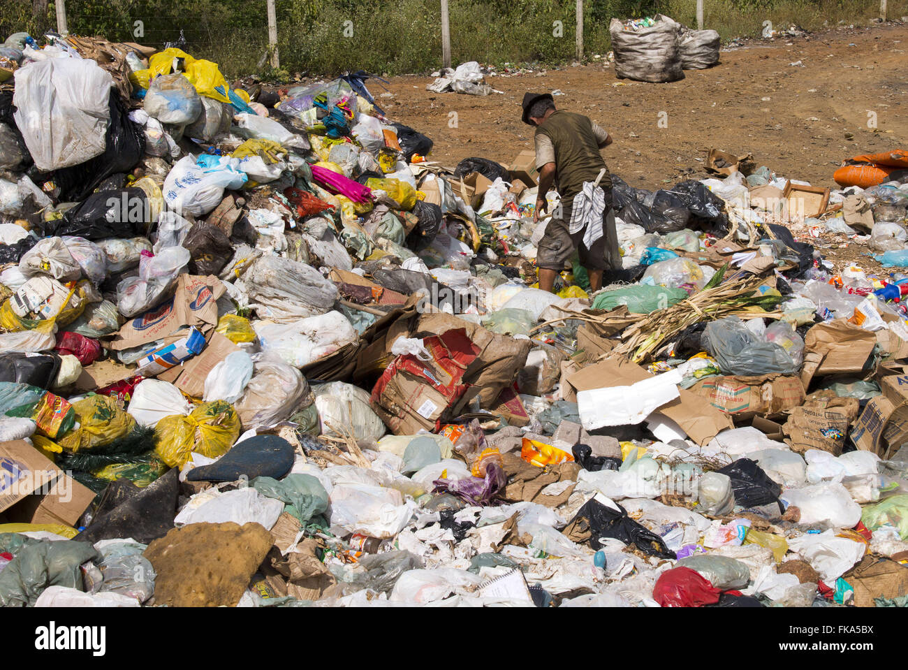 Collector of recyclable in open-air dumps on the outskirts of Sierra Hewn - Stock Image