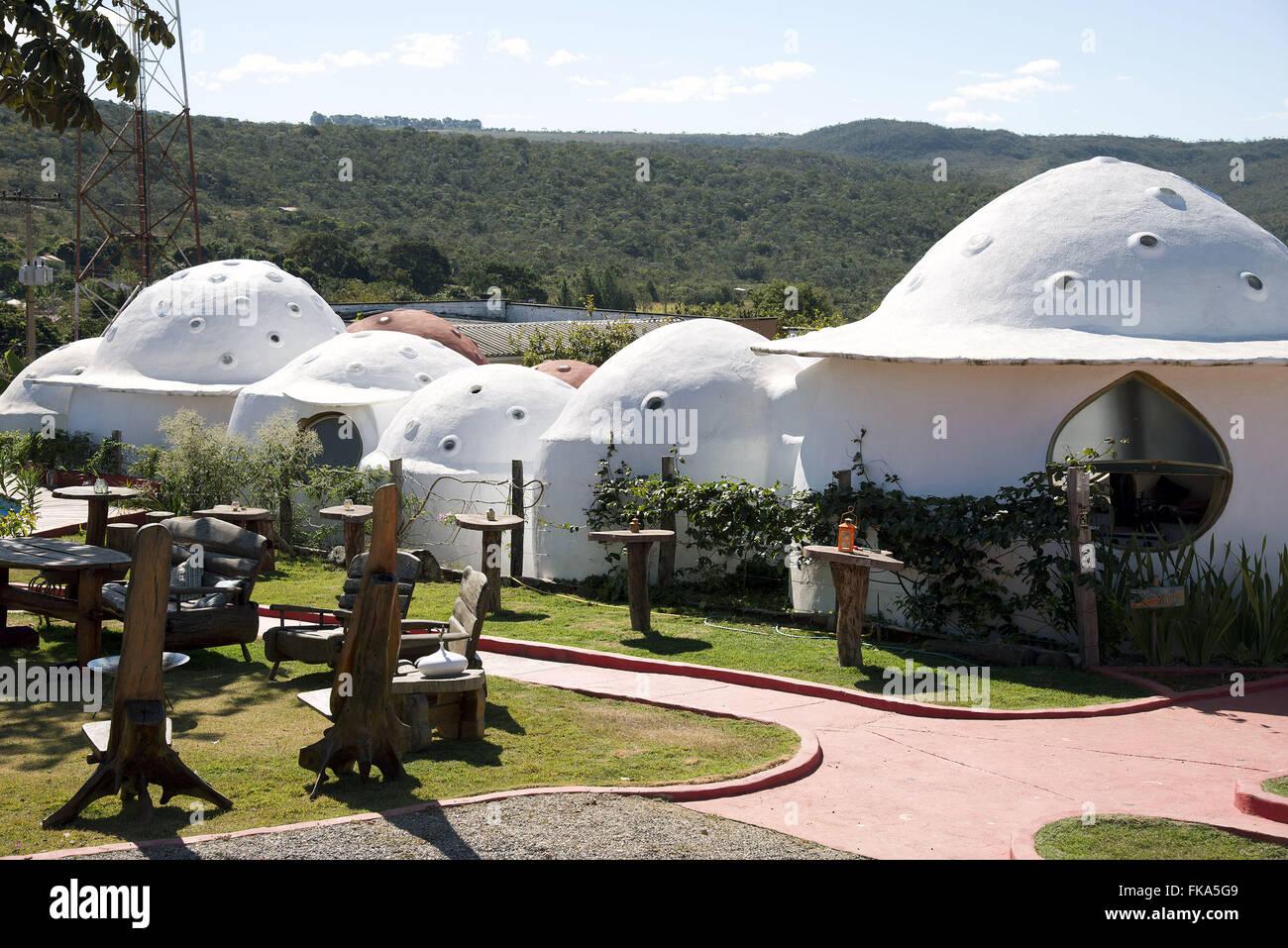 Inn built in the shape of flying saucer - Stock Image