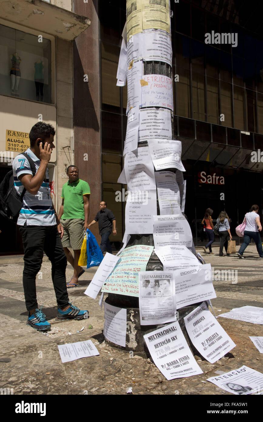 Luminaria with job ads in Barao of Itapeteninga - Stock Image