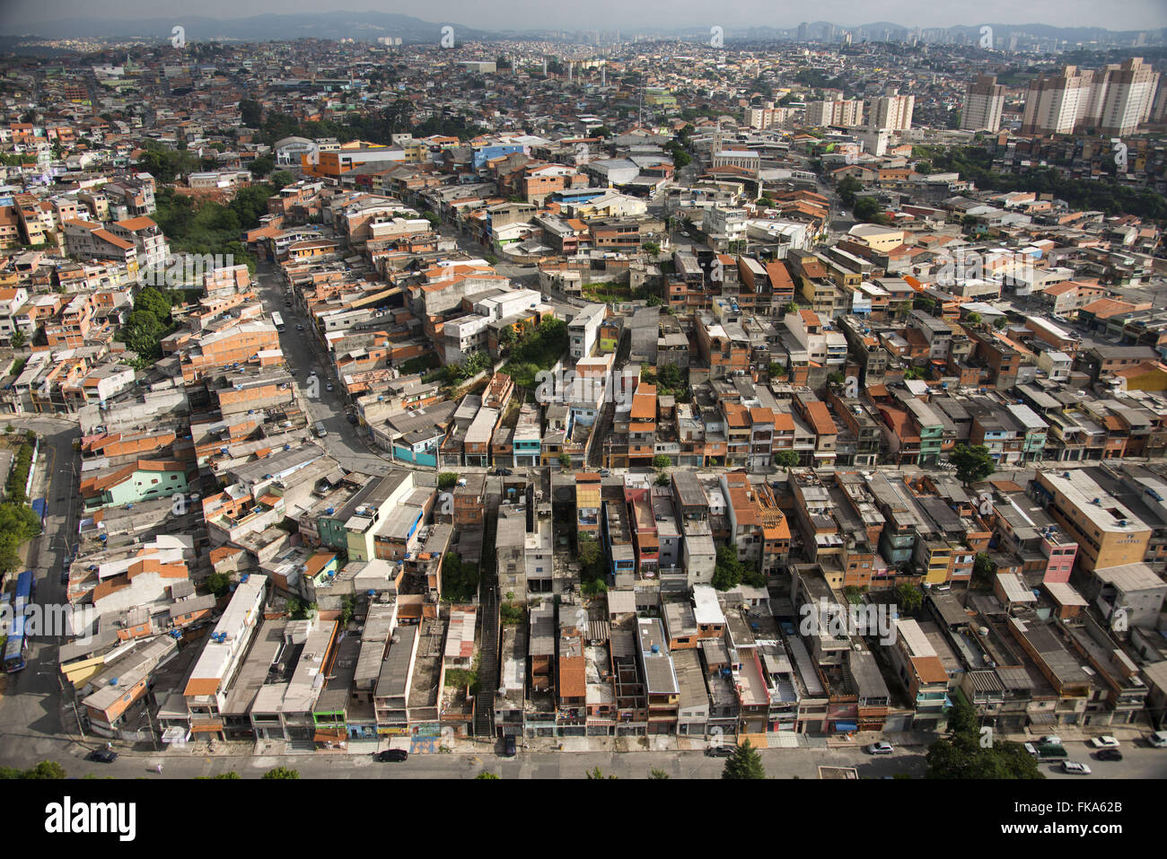 Aerial view of public housing in the city outskirts - Stock Image