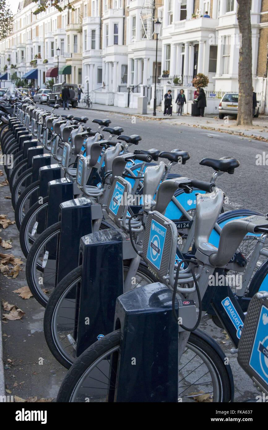 """Bicicletas para locaÁ""""o em Earl`s Court - Stock Image"""