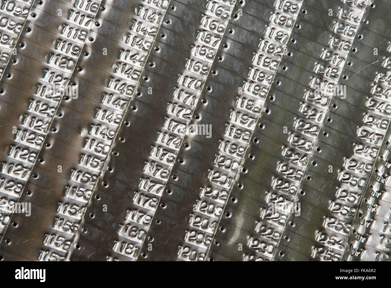 Aluminum plate where the numbers are recorded to identify the trees - Stock Image