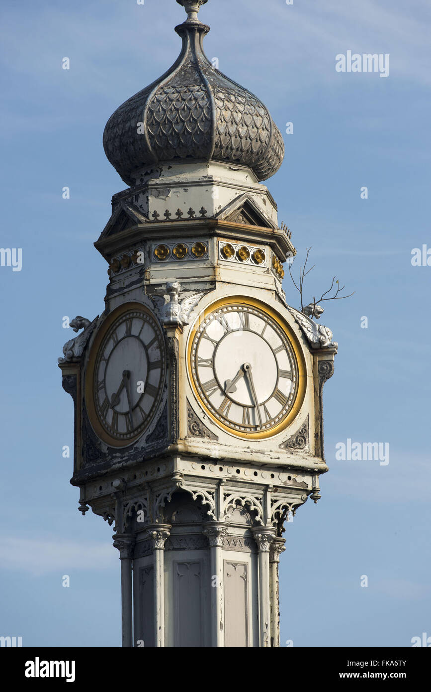 Iron clock detail made in England Square Siqueira Campos or Square Clock - Stock Image