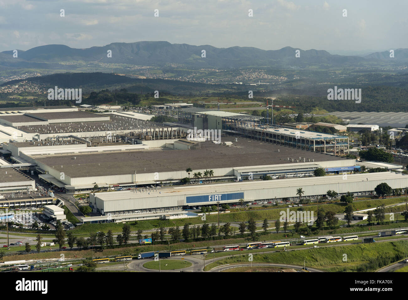 "Aerial view of the FIAT automobile plant in Fern""o Dias highway BR-381 - Stock Image"