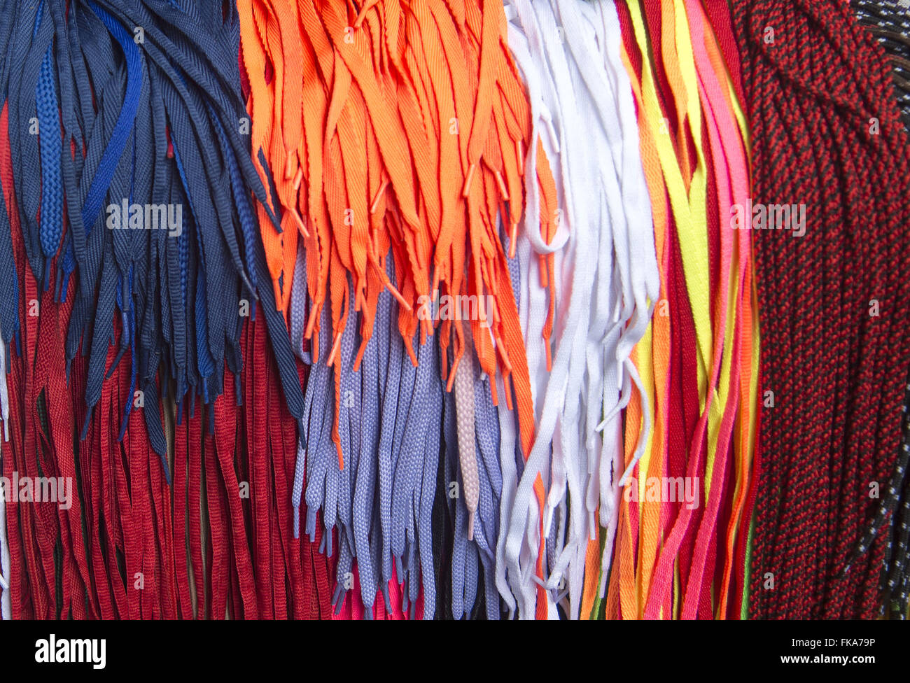 Trade laces and straps for footwear - Stock Image
