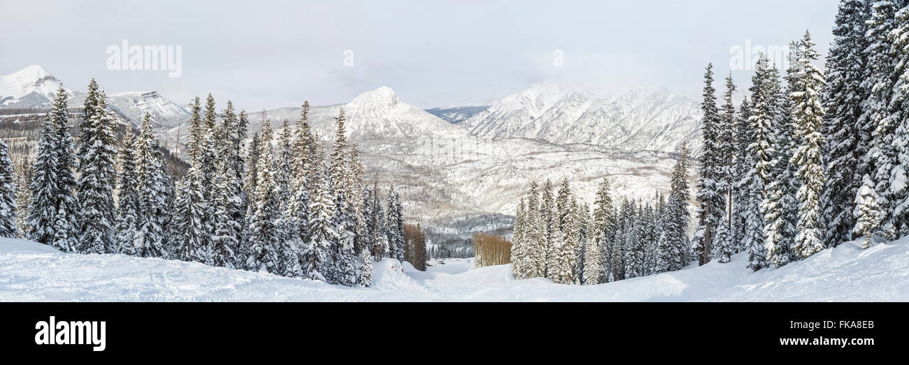 A panoramic view of the Hades run at Purgatory Ski Resort after a blizzard, in the San Juan National Forest in Colorado. - Stock Image