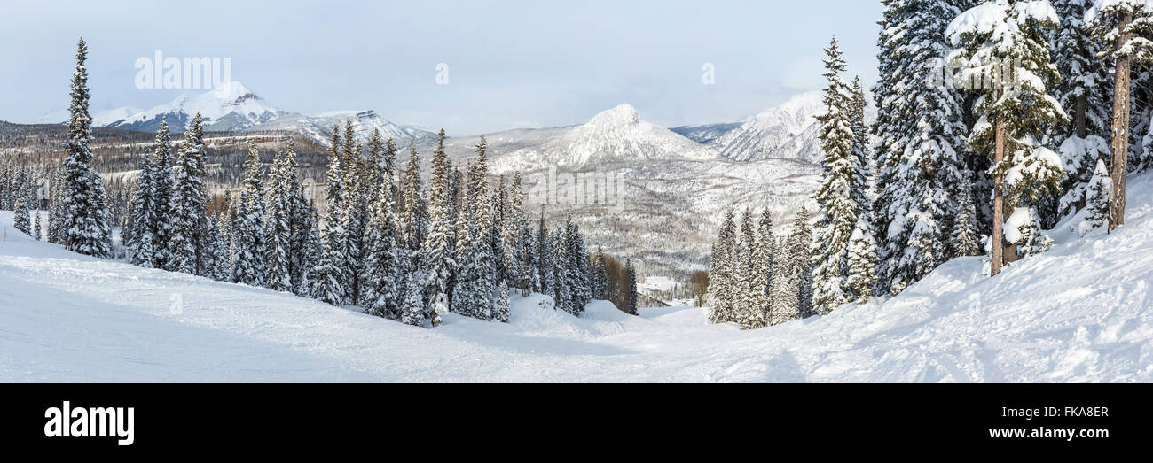 A panoramic view of the Hades run at Purgatory Ski Resort in the San Juan National Forest in Colorado. - Stock Image