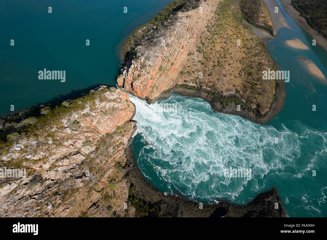 Aerial view of Horizontal Falls, Kimberley Region, Western Australia, Australia - Stock Image