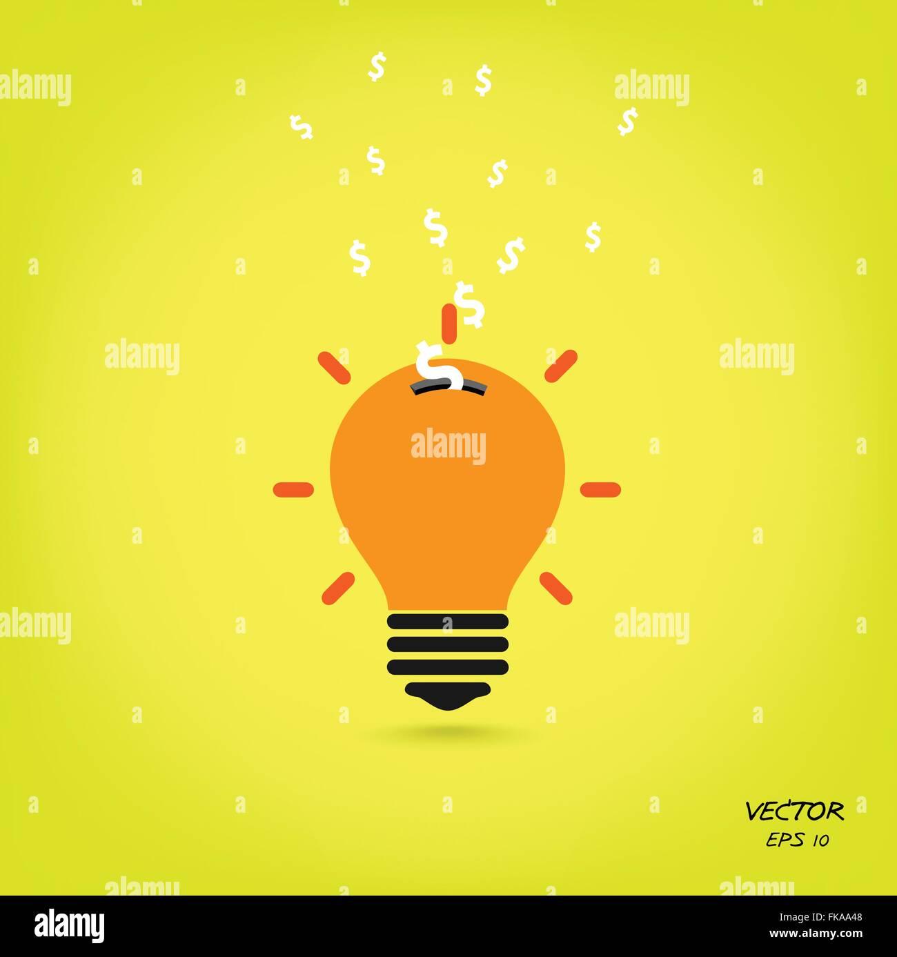 creative light bulb,saving sign,ideas concepts,business background.vector illustration Stock Vector