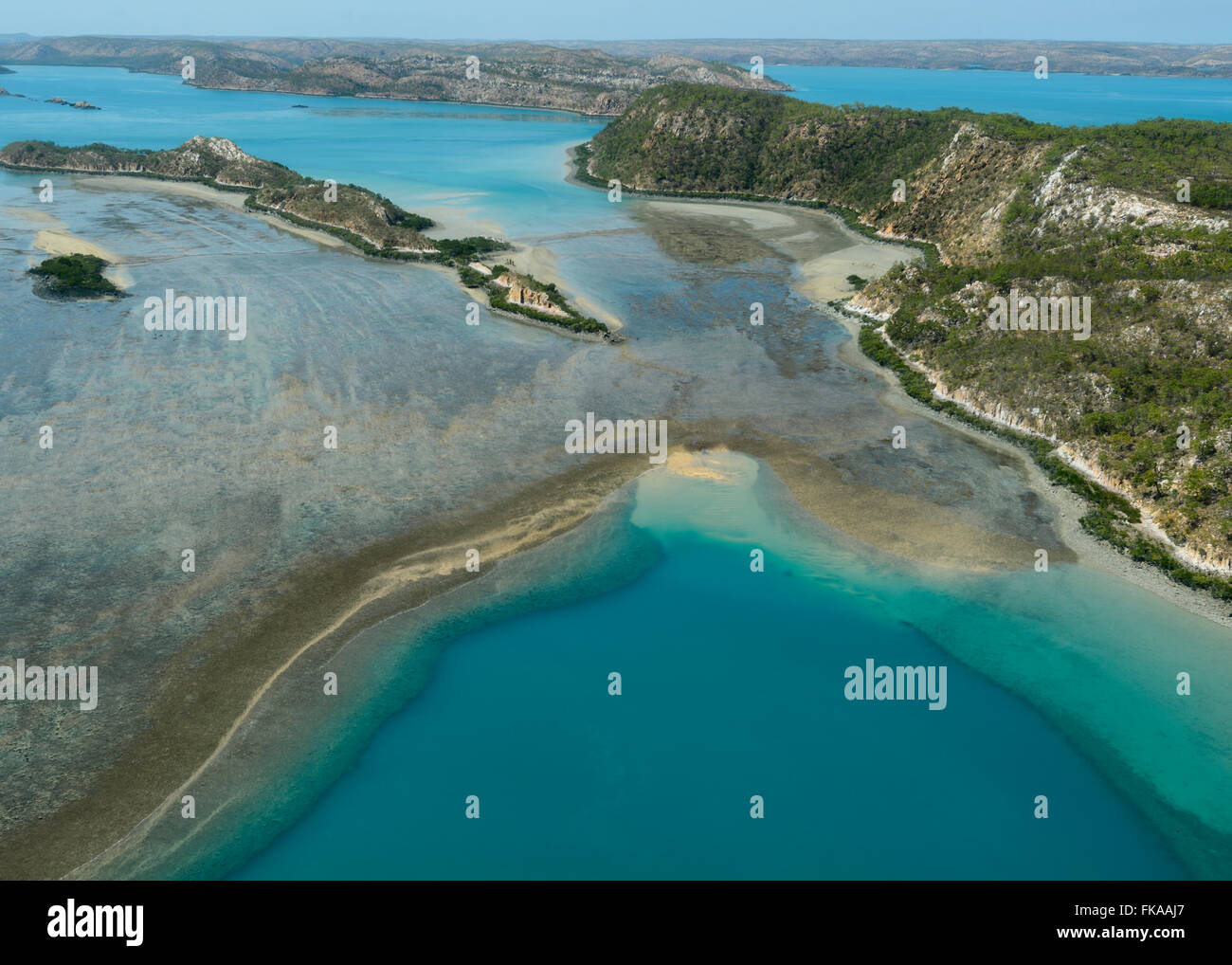 Aerial View of Buccaneer Archipelago, Horizontal Falls, Kimberley Region, Western Australia - Stock Image