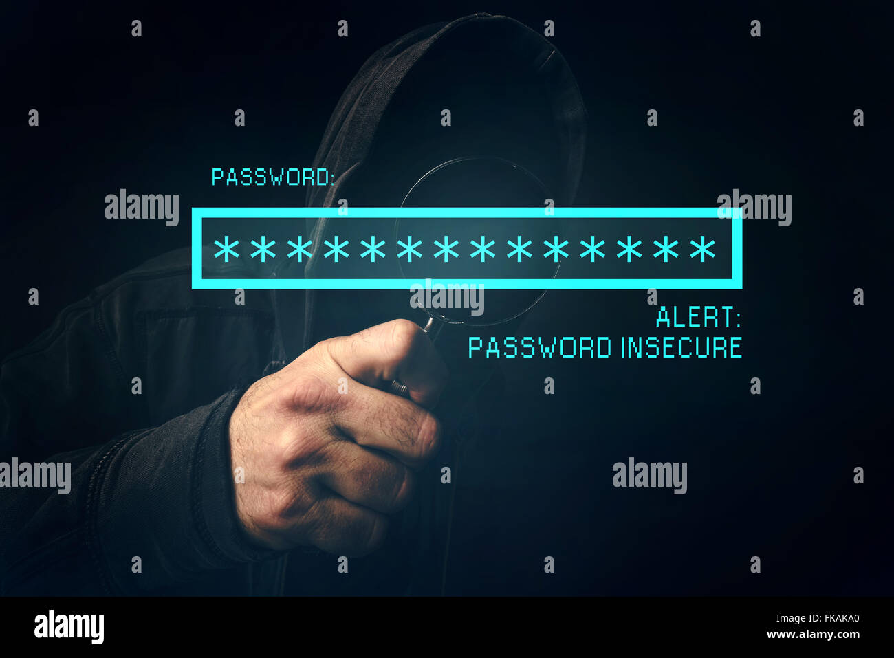 Password insecure alert, unrecognizable computer hacker stealing personal data, internet cyber crime concept. - Stock Image