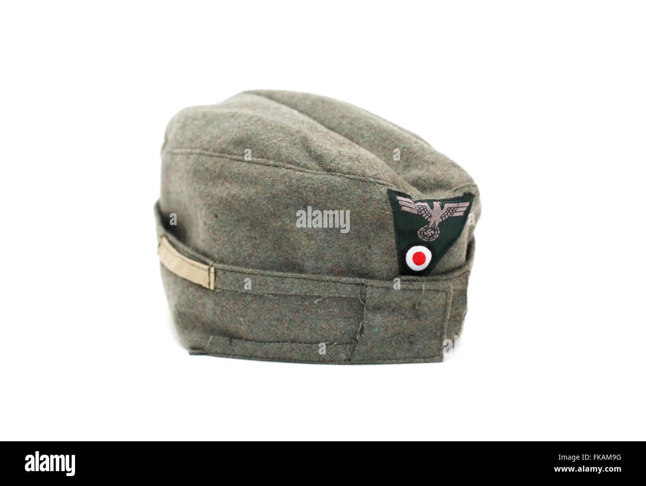 World War II German military garrison cap for soldiers Stock
