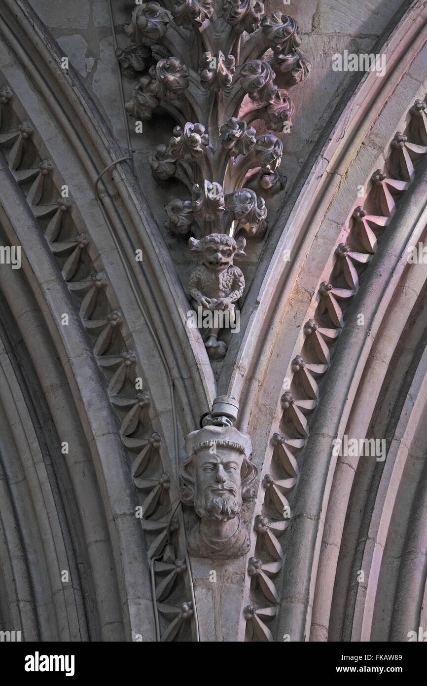 The Lincoln Imp, Angel Choir, Lincoln Cathedral, Lincoln, Lincolnshire, England, UK. - Stock Image