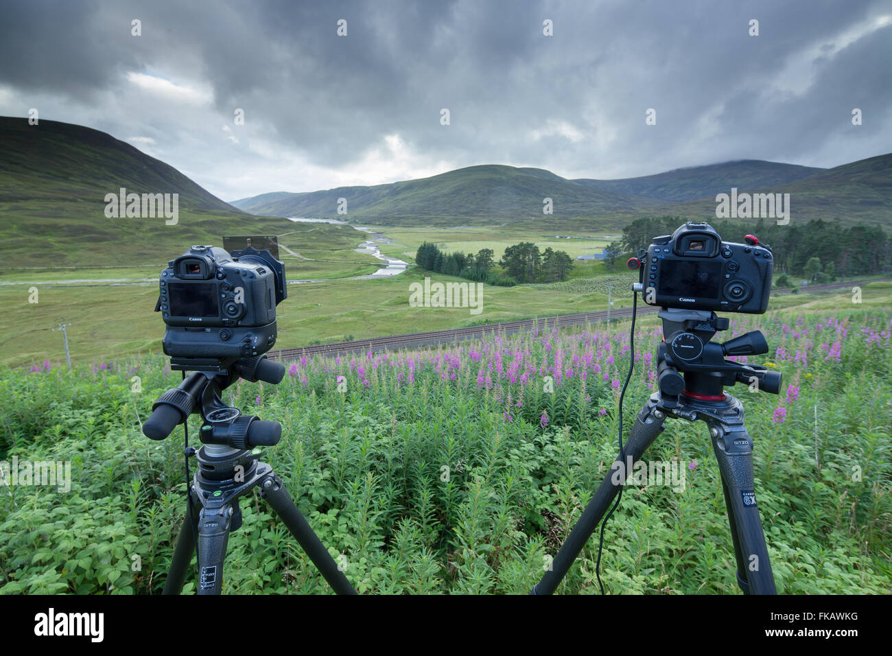 cameras waiting for the Royal Scotsman from Perth to Inverness at Dalnaspidal, Dalwhinnie, Badenoch and Strathspey, - Stock Image