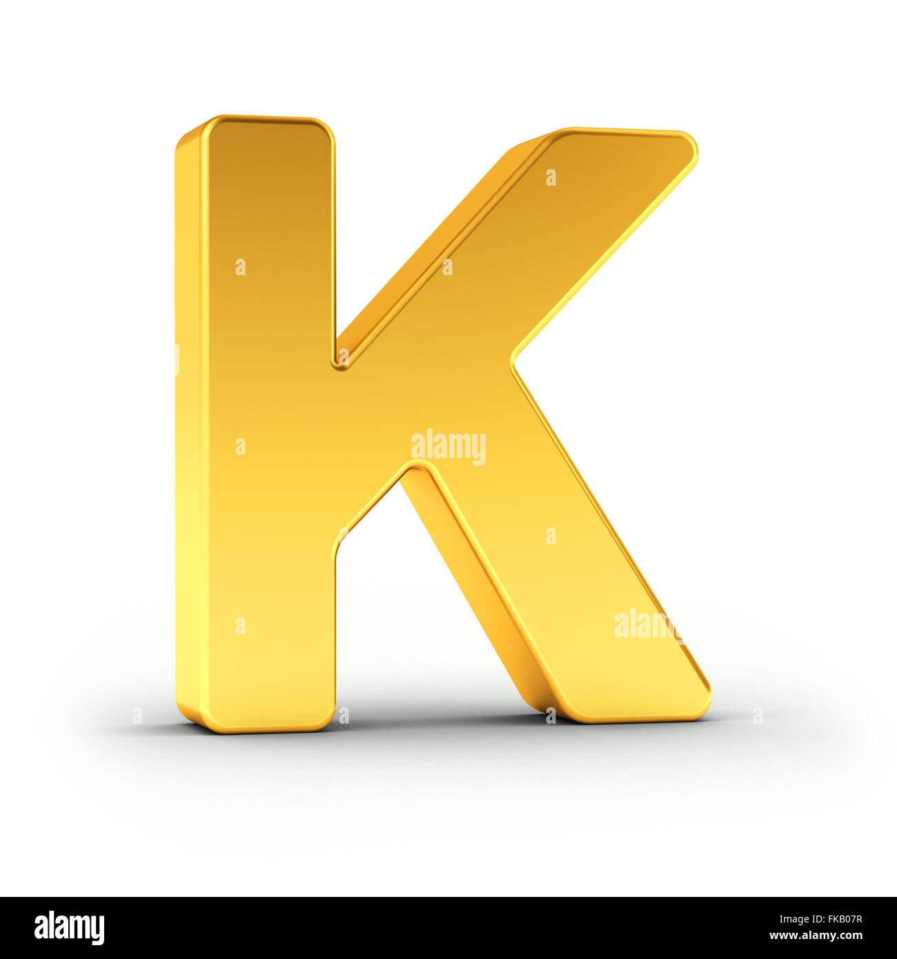 The Letter K as a polished golden object - Stock Image