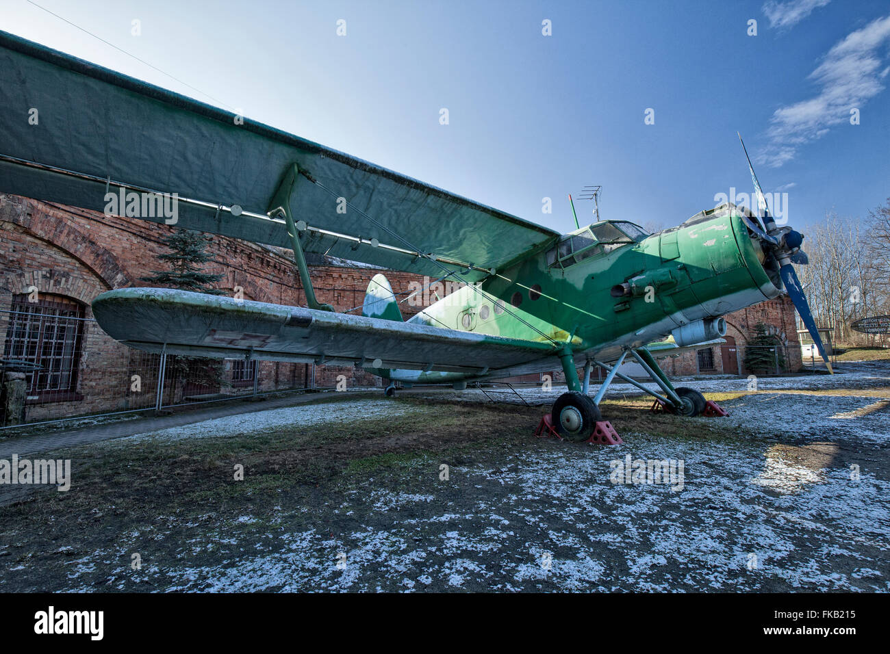 Polish Air Force Antonov An-2 Colt standing in the Museum of Polish Military Technology, Warsaw, Poland. - Stock Image