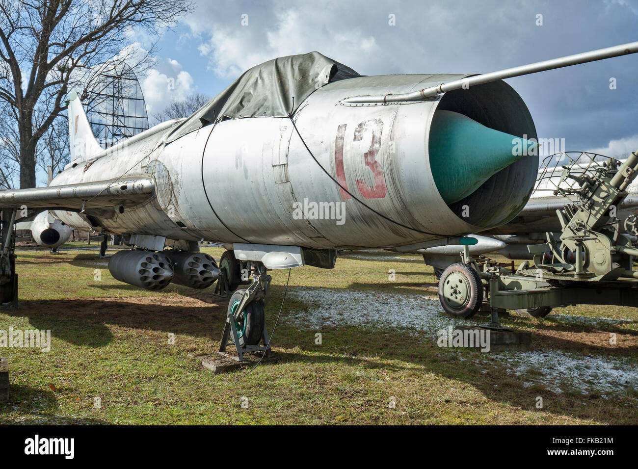 Polish Air Force Sukhoi Su-7BKL Fitter-A standing in the Museum of Polish Military Technology, Warsaw, Poland. - Stock Image